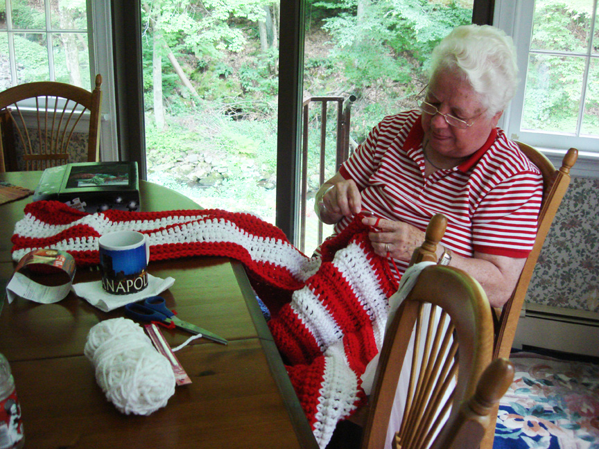 Grandma Kern Crocheting Lighthouse