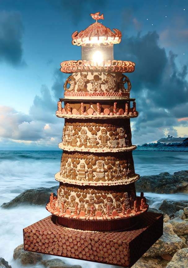 Gingerbread Man Kind Lighthouse on Beach